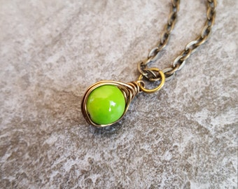 Green Necklace - Apple Green,  Antique Bronze,  Wire Wrapped,  Herringbone Pendant