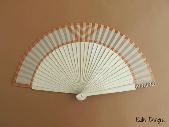 Crea and Rose Gold Art Deco Hand Fan
