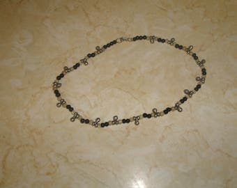 vintage necklace choker black clear glass