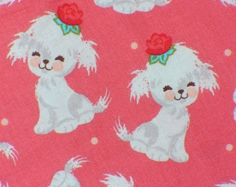 Dogs Fabric, Puppies Fabric, Cute Puppies, Puppies on Pink,  By the Yard
