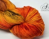 Hand Dyed Superwash Merino Wool and Nylon yarn - Fingering sock weight - Pumpkin Everything
