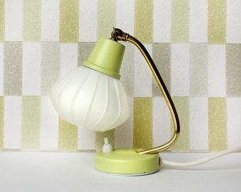 1950s Vintage Midcentury Lamp. White Lampshade, Light Yellow and Gold Tone Metal Detail.