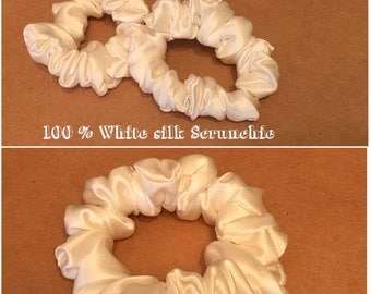 Pure White silk hair scrunchie / 100 % pure white silk Sscrunhie/ Mulberry silk scrunchie