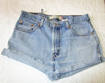 "36"" Levis CUT OFFS Shorts Blue Denim"