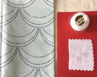 Sashiko Kit Japanese Style for Beginners Complete Needle Cloth Thread