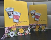 Thanks a Latte Cards Set of 2, Thank You Cards Set, Coffee Lover Gift, Coffee Cards, Coffee Notecards, Spring Thank You Notes