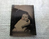 antique miniature gem tintype photo - 1800s, baby with rosy cheeks