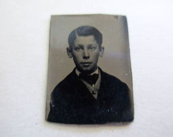 antique miniature gem tintype photo - 1800s, young boy