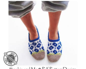 Spring Flower Slippers - Crochet Pattern - Instant Download Pdf