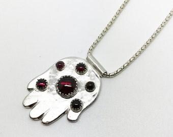 OOAK Amulets Charm Pendant - Judaica Sterling Silver Hamsa with Garnets -  Handmade Jewelry - חמסה