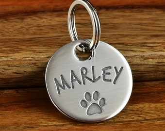 Custom Pet ID Tag - Personalized Pet Tags - Modern Pet, Deep Engraved Stylish Stainless Steel Pet Tag, Dog Tag - Hand Crafted in USA