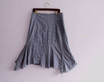 Bohemian Asymmetrical Skirt. Cotton Lace Skirt