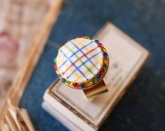 Handmade French vintage 1950s hand-painted porcelain button ring.  Vichy check with vintage Czech crystal chatons