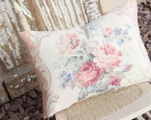 Pink English Cabbage Roses Vintage Nubby Floral Pattern Barkcloth Decorative Throw Pillow Cushion