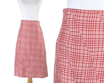 Vintage 90s A-Line Silk Skirt in Red Gingham