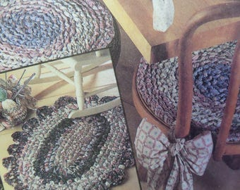 CROCHETED RAG RUG Pattern • McCall's 6037 • Rag Baskets • Rag Placemats • Rag Chairpads • Crochet Pattern • Craft Patterns • WhiletheCatNaps