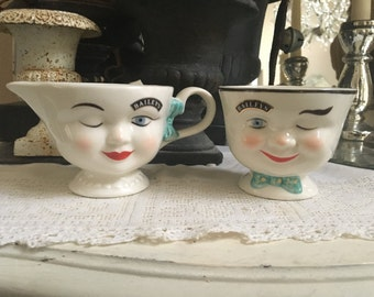Vintage Decorative Serving Piece - Baileys Sugar and Creamer - Tea Cups - His and Hers
