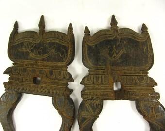 Quran Bible Holder Antique Work Carved Teak Wood Folding Reader Book Stand