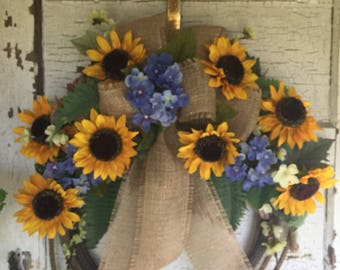 Sunflower and Blue Hydrangea Western Rope Wreath / Lasso / Cowboy / Rodeo / Western Home Decor / Country / Farmhouse / Lariat Rope Wreath