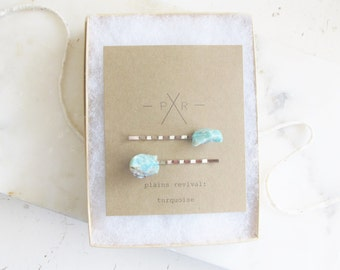 Raw Turquoise Mineral Specimen Unique Hair Pin Bobby Pin