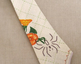 Handmade Ties, Mens Ties, Neckties, Linen, Tropical, Hand Sewn, Bespoke, Floral Ties, Orange, Flowers, Summer, Easter Tie, Fathers Day, Tie