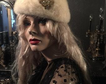 Antique White Mink Hat with Rhinestone Brooch on Side Vintage Max Bogen Designer Hat at Gothic Rose Antiques