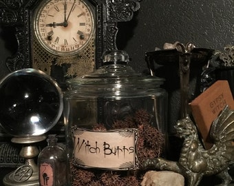 WITCH BURRS in Large Vintage Jar with Custom Paper Label at Gothic Rose Antiques