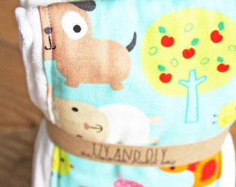 Animals Burp Cloth - Set of 2 - New Baby Shower Gift