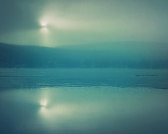 Peaceful Wintery Lake Sunrise, Nature Photography, Fine Art Print, Ice, Clouds, Mist, Water, Winterscape, Wall Art