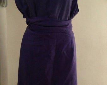 Vintage set 100% silk purple blue M