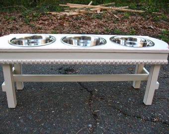 White Elevated Pet Feeder, Dog Bowl, Raised Pet Feeder, Three Quart Stainless Bowls, Dog Feeding Stand, Made to Order
