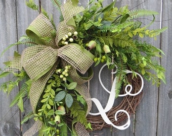 Front Door Wreath, Everyday Wreath, Burlap Wreath, Greenery Wreath for All Year Round, Everyday Wreath, Green Wreath, Natural Wild Door