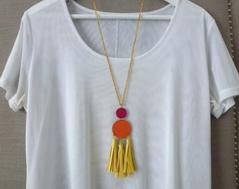 Buttercup, tangerine and pink pendant