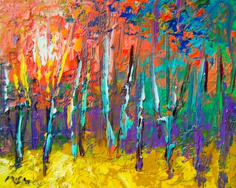 The Woodland Glow  - Original Abstract Oil Painting Landscape Painting by Claire McElveen - Available  Framed Ready To Hang