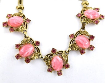 Pink Crystal & Vintage Swirl Plastic Renisance Revival Gold 1950's Necklace