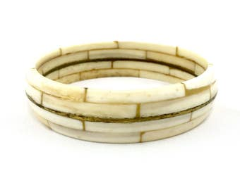 Vintage Brass & Bone Wide Bangle Bracelet