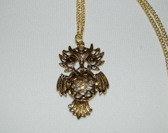 Antique Gold Owl Necklace Dangle Woman Kids Childs Necklace Gift for Her