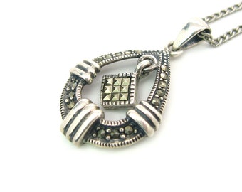 "Teardrop Pendant Necklace. Marcasites, Sterling Silver 925 Milgrain. Diamond Shape Dangle. 18"" Curb Chain. Vintage 1980s Marcasite Jewelry"