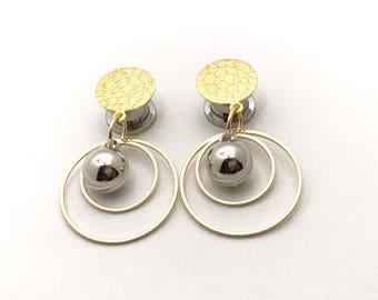 "Silver and Gold Dangle Plugs, 1/2"" Ear Plugs 00g 000g 7/16"" 12mm 11mm 10mm Dangling Hoops Ear Plugs"