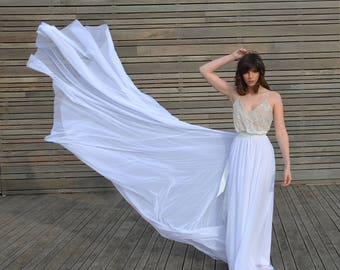 Lace wedding dress, boho lace wedding dress, simple wedding dress, train wedding dress