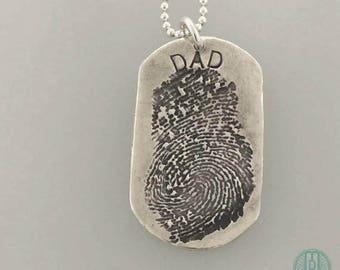 Dog Tag FINGERPRINT necklace, made from JPEG image of Fingerprint or Thumbprint, Military gift