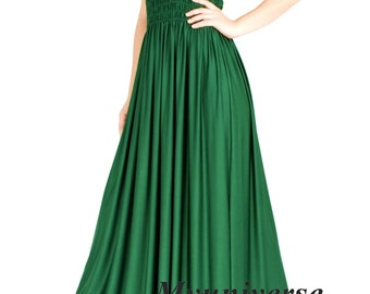 Evening Dress Formal Gown Gala Maxi Dress Bridesmaid Women Plus Size Dress Clothing Emerald Green Deep Green Gala Long Hawaiian Dress Summer