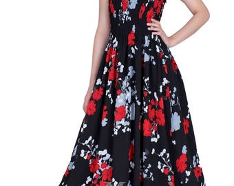 Maxi Dress Chiffon Bridesmaid Dress Women Prom Long Evening Beach Party Coast Fancy Dress Black Red Floral Chiffon Summer Sundress Plus Size