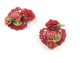Heart Earrings- Red Crochet Clip On Earrings, Rose Earrings, Handmade Earrings, Bohemian Jewelry, Textile Jewelry, Nature Jewelry