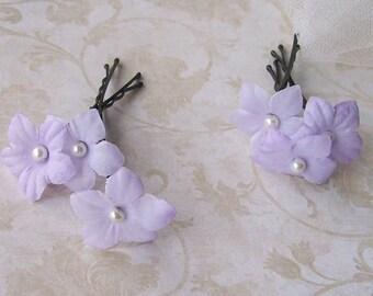 Light Lavender Flower Hair Pins - Set of Six