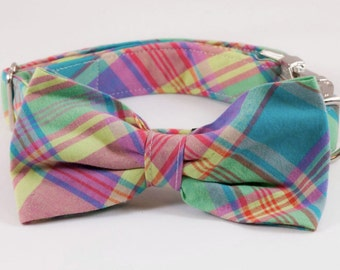Preppy Pink and Yellow Madras Plaid Bow Tie Dog Collar