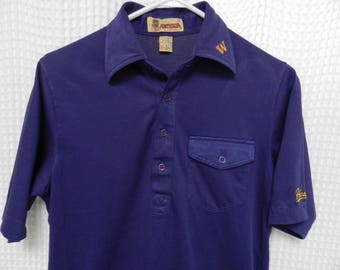 vintage Washington Huskies 70s SS Shirt polo UW football retro Dawgs S polyester blend golf tennis Antigua seventies sports casual jersey