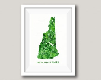 New Hampshire Art - New Hampshire Map - Personalized Map Watercolor Wall Art - State Map Art - Home Is Where The Heart Is - NH Travel Map
