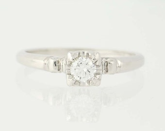 Vintage Diamond Engagement Ring - 18k Gold & Platinum Round Cut Solitaire .18ct Unique Engagement Ring N5838