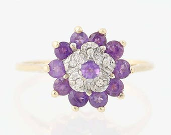 Amethyst & Diamond Tiered Cluster Ring - 10k Yellow Gold Round Brilliant .65ctw N5859